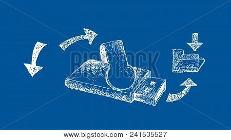 Computer And Technology, Illustration Hand Drawn Sketch Of Usb Drive Or Usb Flash Memory On Blueprin