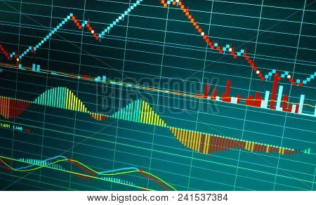 Charts Of Financial Instruments With Various Type Of Indicators Including Volume Analysis For Profes