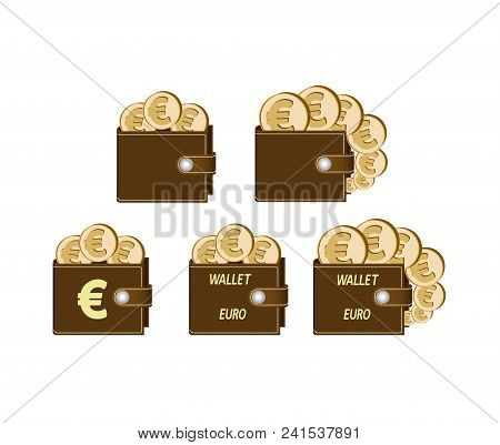 Set Of Brown Wallets With Euro Coins On A White Background , Currency In The Wallet,sign And Symbol