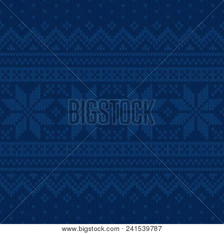 Traditional Christmas And New Year Design Knitted Background. Fair Isle Sweater Ornamental Design. W
