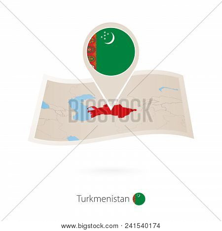 Folded Paper Map Of Turkmenistan With Flag Pin Of Turkmenistan. Vector Illustration