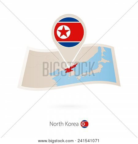 Folded Paper Map Of North Korea With Flag Pin Of North Korea. Vector Illustration