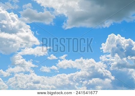 Blue Sky Landscape With White Sky Clouds Floating In The Blue Sky. Sky Natural Landscape, Fluffy Whi