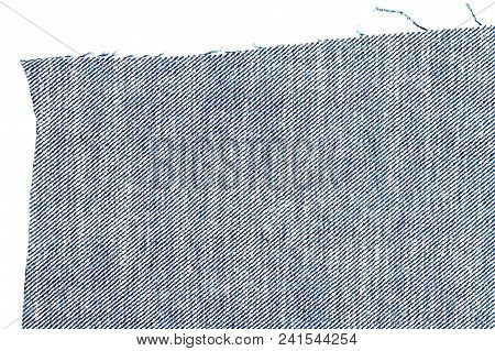 Piece Of Blue Jeans Fabric Isolated On White Background. Rough Uneven Edges. Wrong Side Of Fabric