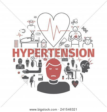 Hypertension. Symptoms, Treatment. Icons Set Vector Signs For Web Graphics