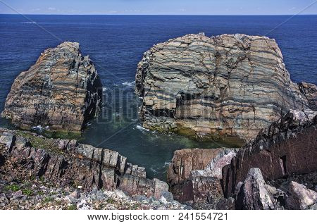 Rock Layers Along Newfoundland Coastline Near Bonavista