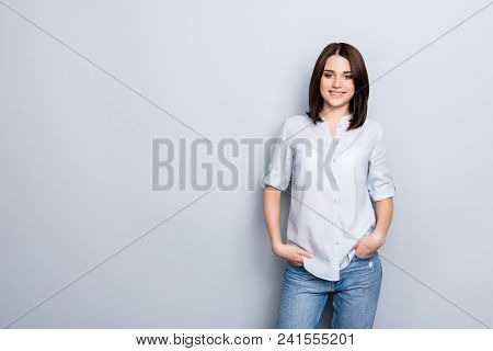 Portrait With Copy Space, Empty Place Of Trendy, Cheerful, Modern Girl In Denim Outfit, Holding Hand