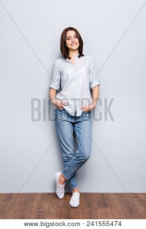 Vertical Full Length Fullbody Portrait Of Trendy, Cheerful Girl In Denim, Casual Outfit, Standing Le