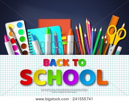 Back To School Typography Design With Realistic School Supplies. Paper Cut Style Letters On Squared