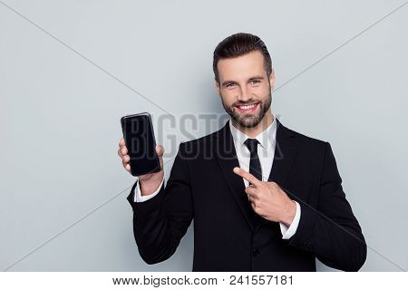 Portrait Of Excited Cheerful Satisfied Enjoying Joyful Handsome Delightful Confident Focused With To