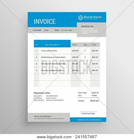 Blue And Gray Professional Invoice Template Design