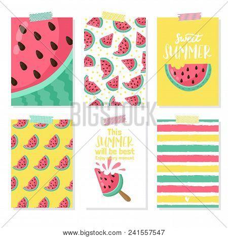Set Of Summer Card With Watermelon, Palm Leaf. Hello Summer, Enjoy It, Fresh Summer, Good Vibe. Temp