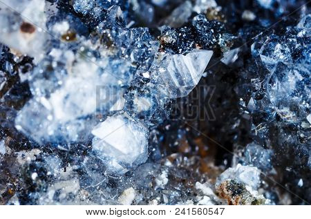 Macro Shooting Of Natural Gemstone. The Raw Mineral Is Apophyllite . The Texture Of The Stone. Abstr