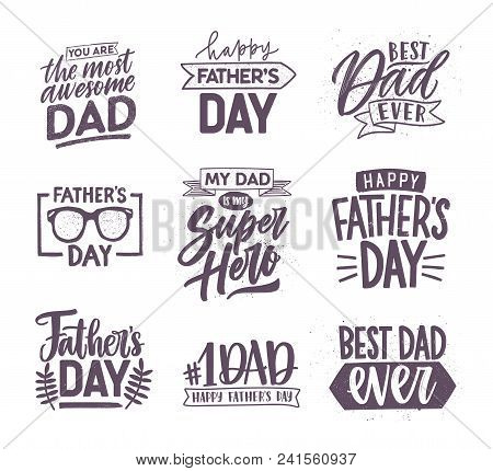 Collection Of Father's Day Letterings Handwritten With Elegant Fonts And Decorated With Festive Elem