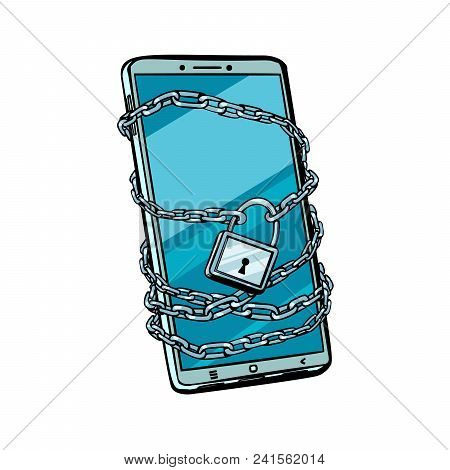 Smartphone Chain Lock. Locked Gadget. Isolated On White Background. Pop Art Retro Vector Illustratio