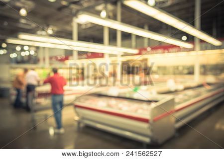 Vintage Blurred Meat Department At Wholesale Store In Usa