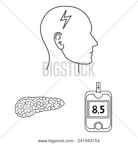 Diabetes Outline Icons In Set Collection For Design. Treatment Of Diabetes Vector Symbol Stock  Illu
