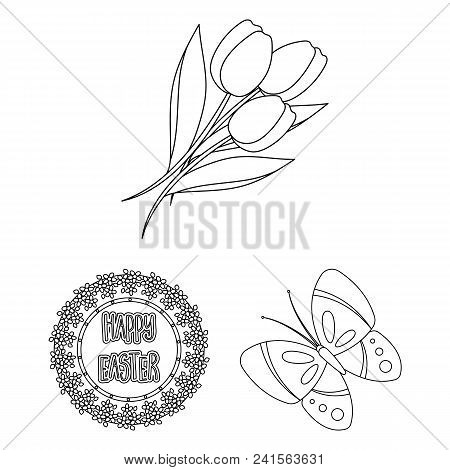 Easter Is A Christian Holiday Outline Icons In Set Collection For Design. Easter Attributes Vector S