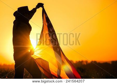 Men Western Wearing Celebrating Independence Day Waving Large American Flag During Scenic Sunset Vis