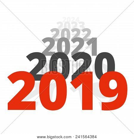 New Year 2019 Concept - Row Of Dates Going To Horizon. Sequence Of Numbers Moving Far Away. Isolated