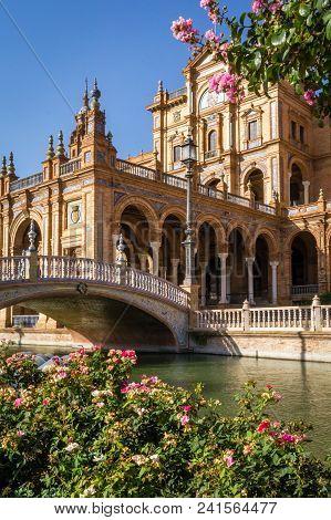 Sevilla Spain Square Plaza De Espana, River And Bridge In The Summer
