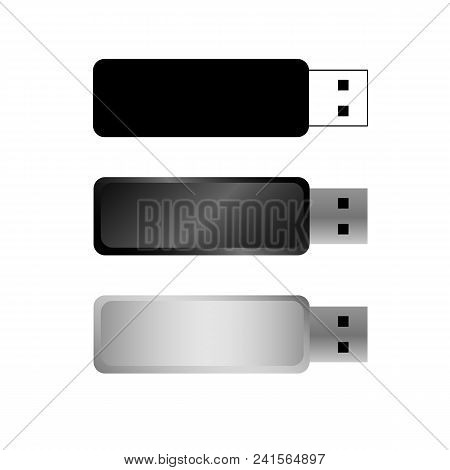 Usb Flash Drives, Portable Data Storage. Vector Templates For Mock Ups, With Free Space For Corporat