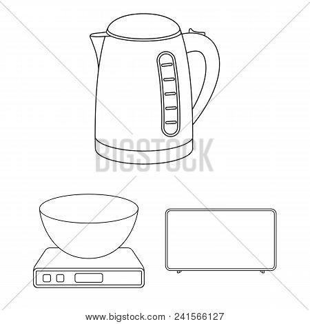 Types Of Household Appliances Outline Icons In Set Collection For Design.kitchen Equipment Vector Sy