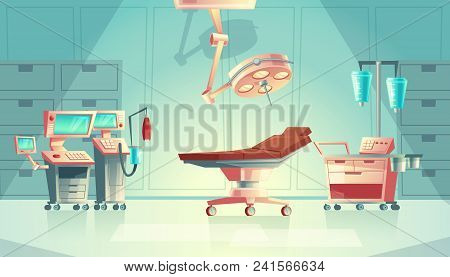 Vector Medical Surgery Room Concept, Cartoon Hospital Equipment. Medicine Life Support System With L