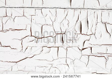 Aged Wooden Door Cracked Texture. Damaged White Paint. Macro View.