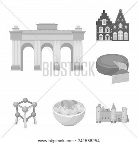 Country Belgium Monochrome Icons In Set Collection For Design.travel And Attractions Belgium Vector