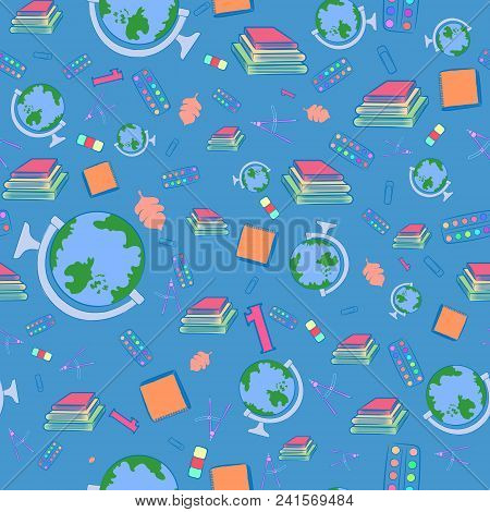 Seamless Pattern With Colorful School Items. Flying Globe, Book Piles, Paint, Eraser And Other Objec