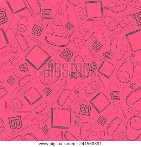 Seamless Pattern With Outlined School Items Placed On The Bright Pink Background. School Items Such