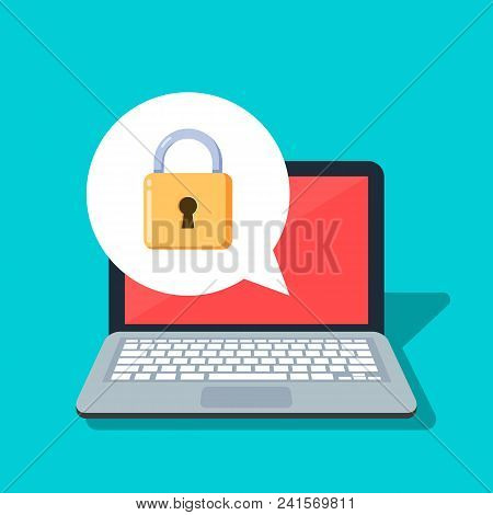 Close Lock On A Laptop Background. Concept Of The Security Of Personal Information And Data. Passwor