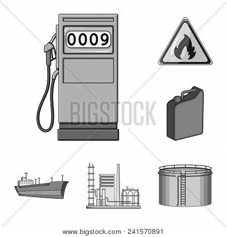 Oil Industry Monochrome Icons In Set Collection For Design. Equipment And Oil Production Vector Symb