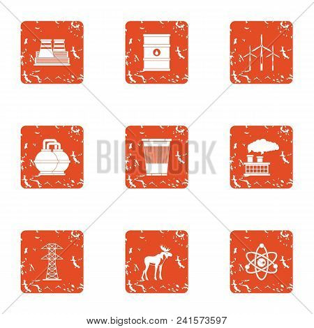 Hazardous Environment Icons Set. Grunge Set Of 9 Hazardous Environment Vector Icons For Web Isolated