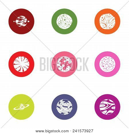 Planetary Exploration Icons Set. Flat Set Of 9 Planetary Exploration Vector Icons For Web Isolated O