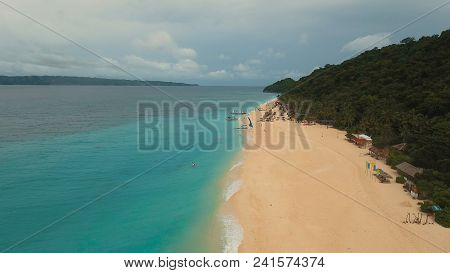 Aerial View Of Beautiful Tropical Island With White Sand Beach, Hotels And Tourists, Boracay, Puka S