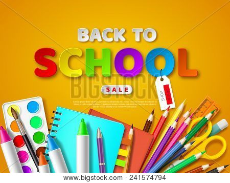 Back To School Sale Poster With Realistic School Supplies. Paper Cut Style Letters On Yellow Backgro