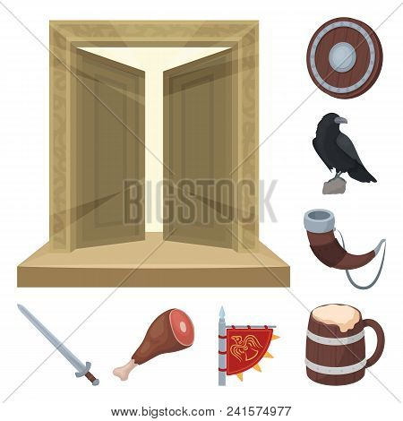 Vikings And Attributes Cartoon Icons In Set Collection For Design.old Norse Warrior Vector Symbol St