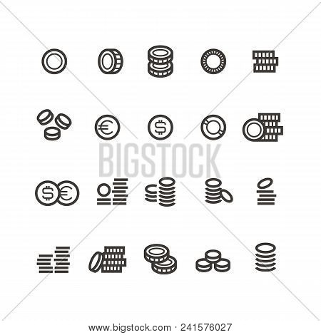 Coins Line Icons. Money, Tax, Earn And Cash Outline Vector Symbols Isolated. Cash Coin Profit, Linea