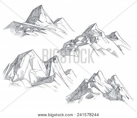 Hand Drawing Mountain Peaks Isolated Retro Etching Sketch Vector Illustration. Sketch Drawing Peak L