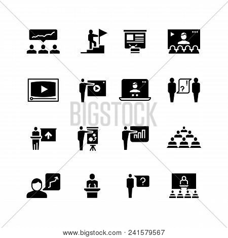 Presentation Business Event Symbols. Training Video Conference Icons. Students Class With Speaker Pi