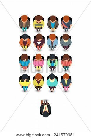 Top View People Sitting In Chairs In Lecture Auditorium Vector Illustration. Conference And Consulti