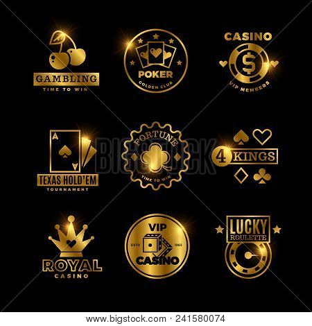Golden Gambling, Casino, Poker Royal Tournament, Roulette Vector Labels, Emblems, Logos And Badges.