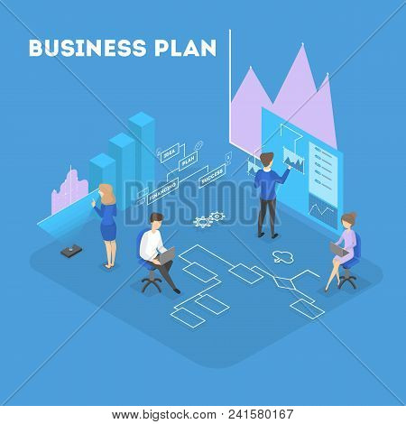 Business plan in isometry. People making system and collecting data. poster
