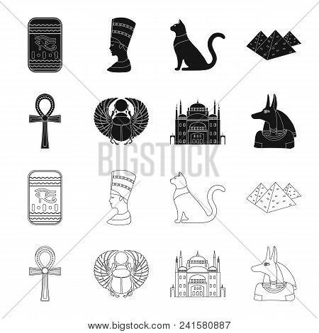 Anubis, Ankh, Cairo Citadel, Egyptian Beetle.ancient Egypt Set Collection Icons In Black, Outline St
