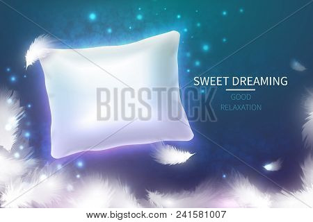 Sweet Dreaming Concept With 3d Realistic White Pillow. Soft Comfortable Cushion For Good Relaxation.