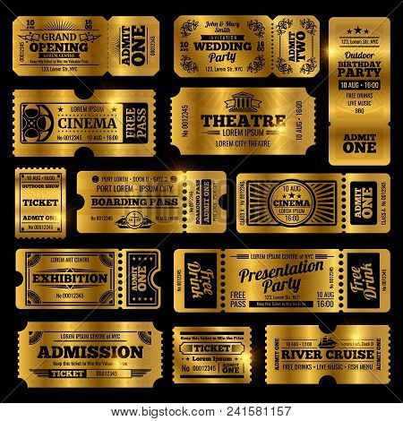 Circus, Party And Cinema Vector Vintage Admission Tickets Templates. Golden Tickets Isolated On Blac