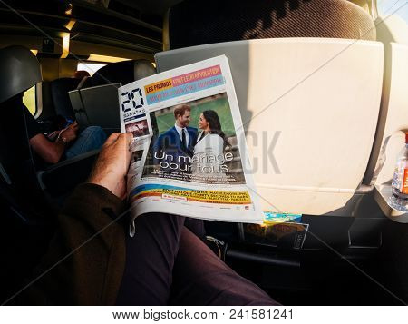 France - May 20, 2018: Man Reading In First Class Of A Tgv Sncf Train The Cover Newspaper Of 20 Minu