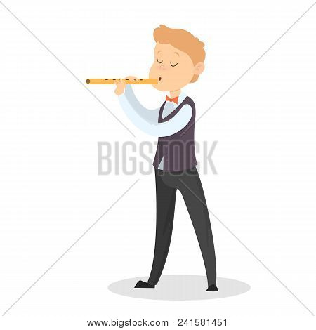 Children Playing On Flute On White Background.